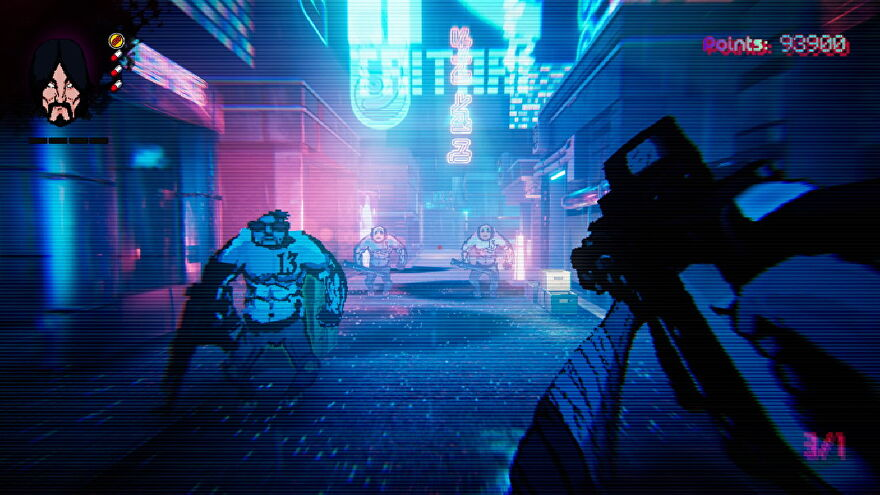 The player aims at submachine gun at a number of thugs in Project Downfall.