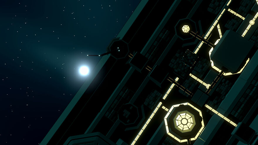 Project Sidereal - A close-up view of the outer part of a space station with glowing yellow details. A star shines in the distance behind the station.