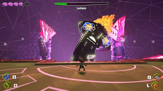 The Luktopus boss fight in Psychonauts 2, a giant octopus covered in bright neon lights, holding a hand of cards in two tentacles on either side.