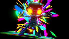 Raz from Psychonauts 2 getting a new skill in a dark environment, with bright colours shooting out from behind him.