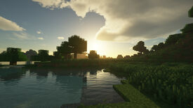 A screenshot showing the SEUS ray tracing shader for Minecraft.