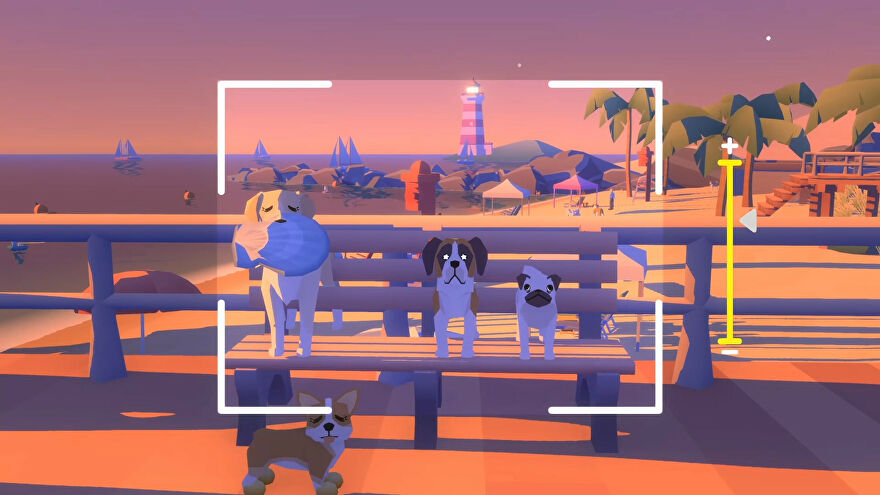 A screenshot of some nice dogs chilling on a bench at sunset in Pupperazzi.