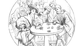 A game of dice in an illustration from 'Geschichte Oesterreichs [With illustrations.]'