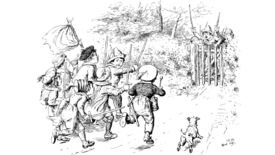 Children battling with toy swords in an illustration from 'Humorous Poems ... With a preface by A. Ainger, and ... illustrations by C. E. Brock. L.P'.