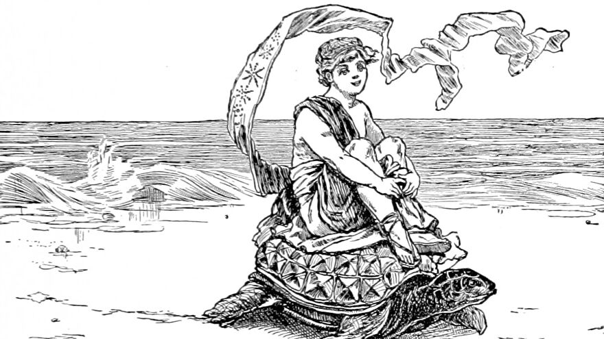 A happy person in a toga rides a tortoise on a beach in a illustration from 'When Life is Young: a collection of verse for boys and girls'.