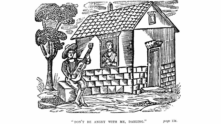 A troubadour apologises with a song to a woman in a cottage, in an illustration from 'The Highlands of Cantabria, or Three Days from England.'