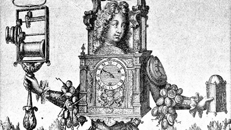 A man wearing an outfit of clocks and watches in an illustration from 'The Century of Louis XIV. Its arts-its ideas.'