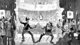 Actors duelling on stage in an illustration from 'The Comic history of England'.