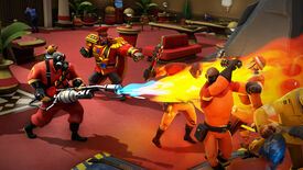 Pyro from TF2 flaming some poor henchmen in Evil Genius 2.
