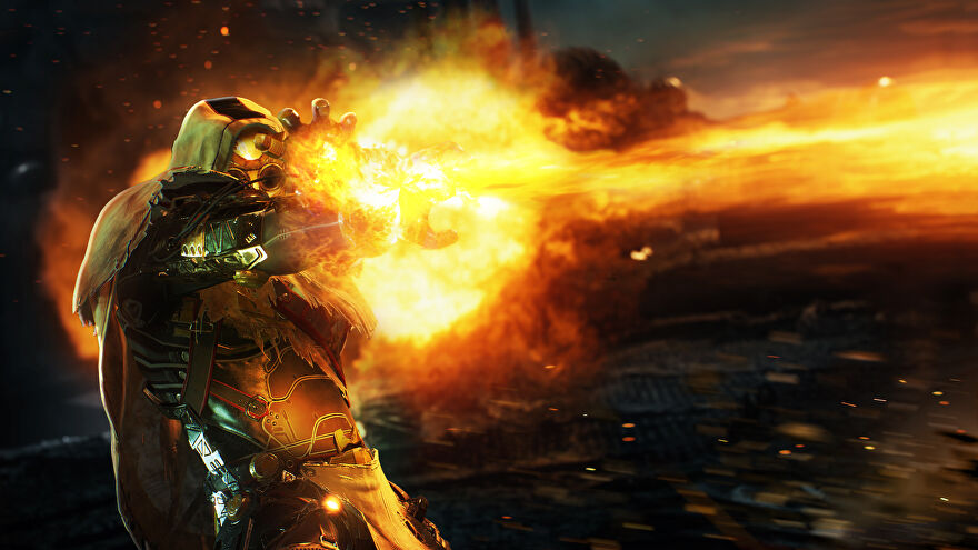 Promotional Outriders art showcasing a Pyromancer unleashing a beam of fiery energy at an enemy offscreen.