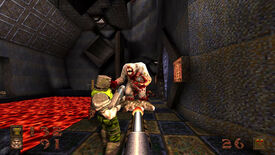 A screenshot of Quake showing the player, and another player, fighting a Quake shambler.