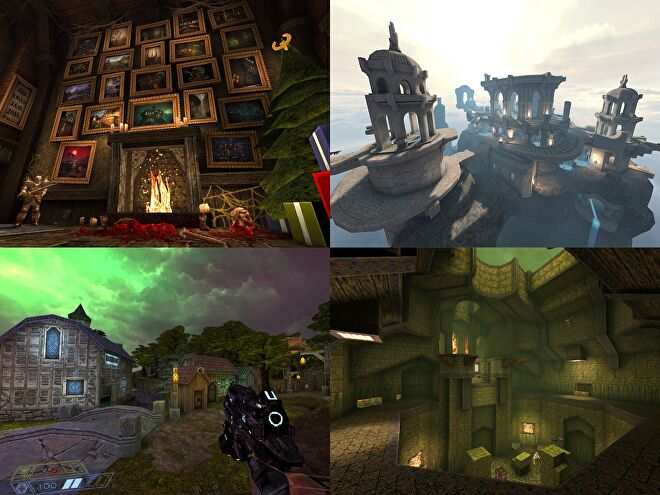 Clockwise from top-left: Quake mods Xmas Jam 2018, Tears of the False God, Underdark Overbright, Slayer's Testaments.