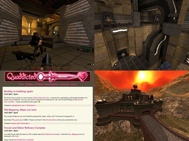 A grid image of Quake mods: DarkPlaces in 2004 with QE1 textures (Quake Revitalization Project), Insomnia, Marcher Fortress, Quaddicted front page in 2007