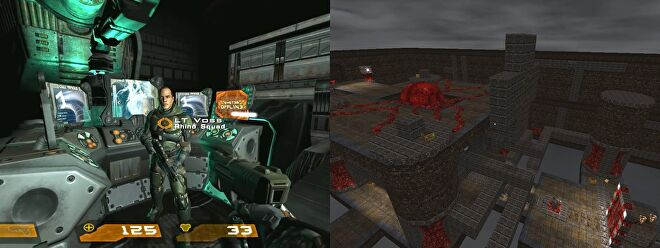 A side by side comparison of Quake 4 (left) and Warp Spasm (right)