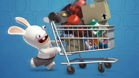 A Rabbid pushes a shopping trolley full of junk.