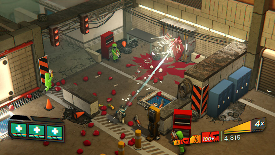 A screenshot of Radio Viscera showing an isometric view of an industrial building, smeared in blood and meat.