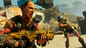 A blue-haired bandit with a gun in a Rage 2 screenshot.