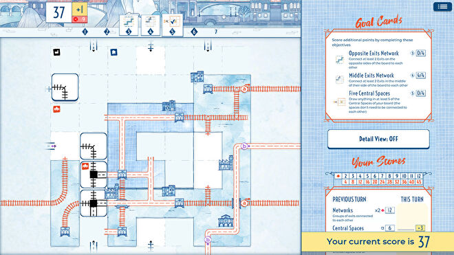 A screenshot of a gameboard, criss-crossed with unfinished railway lines, in Railroad Ink Challenge
