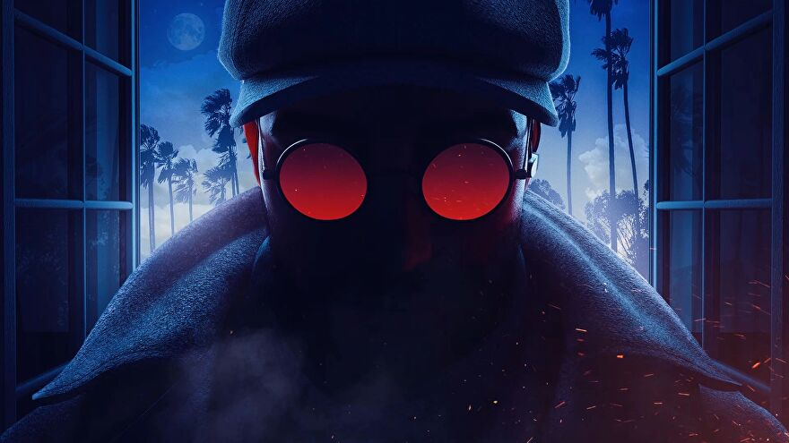 Rainbow Six Siege's new operator Flores silhouetted with his funky red glasses on show.