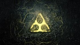 Rainbow Six Extraction logo: a glowing yellow symbol surrounded by shiny, black corruption.