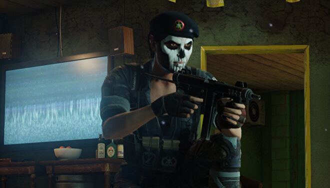 A close up of operator Caveira aiming a gun from Rainbow Six Siege