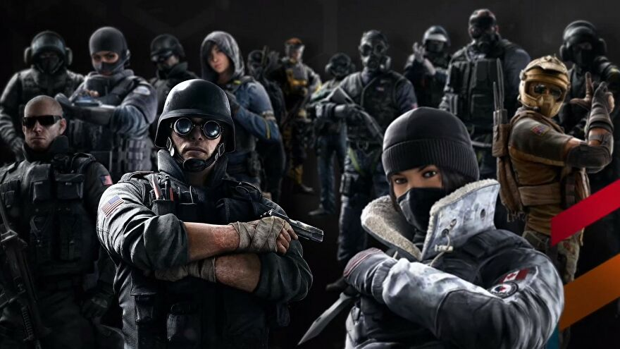 Several operators from Rainbow Six Siege stare dramatically at the camera.