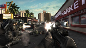 A gunfight on the streets of Las Vegas in a Rainbow Six Vegas 2 screenshot.
