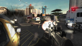 A gunfight outside a motel in a Rainbow Six Vegas 2 screenshot.