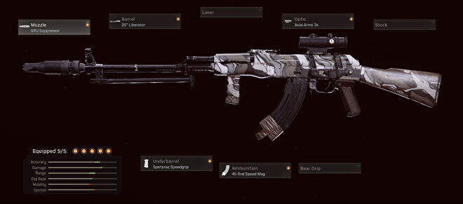 This Cold War AK-47 has the GRU suppressor, 20 inch liberator barrel, axial arms 3x scope, Spetsnaz speedgrip, and 45 round speed mag