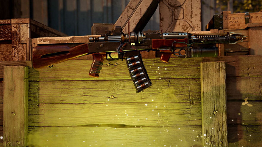The Ray Rifle RAI K-84 comes out of the Zombies mystery box. A gold glow eminates from beneath it.