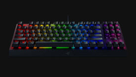a photo of a razer blackwidow v3 tenkeyless keyboard, meaning it has no numpad, with green clicky switches