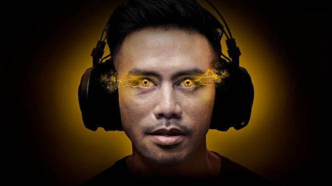 A man with glowing eyes in a marketing image for Respawn By 5 gum.