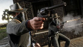 A cowboy in a face mask holds out a gun in Red Dead Redemption 2