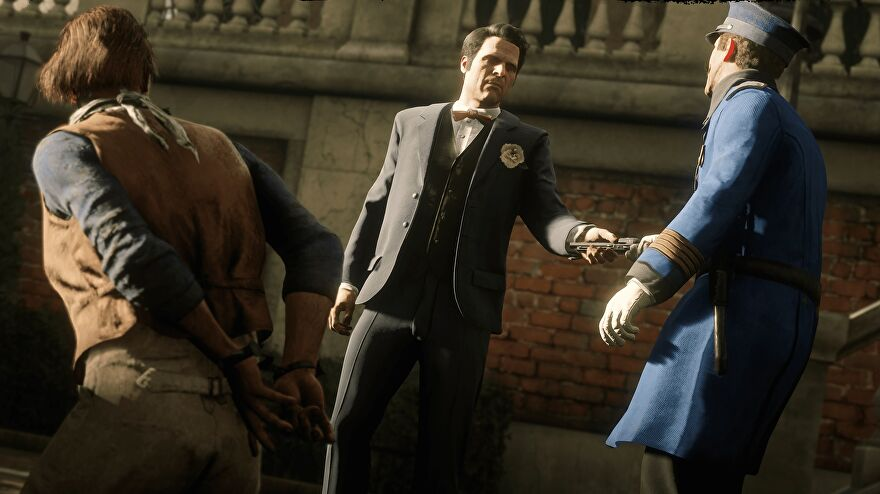 Red Dead Online - Guido Martelli hands something to a police officer in Saint Denis while another person kneels on the ground in handcuffs.