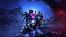 Key art for Redfall, showing a vampire crawling on the ground towards the camera while four heroes wield weapons and magic in a pose behind it.