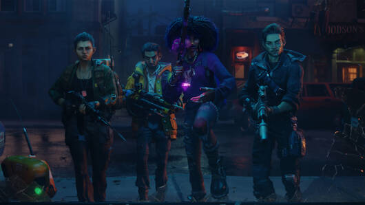 A wide shot of the team from new anti-vampire co-op game Redfall. The four of them are standing in a line in a dark street, looking well cool with their sci-fi magic guns and stuff
