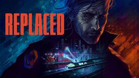 Artwork for Sad Cat Studio's new game Replaced, showing a moody looking man and a highspeed train shootout