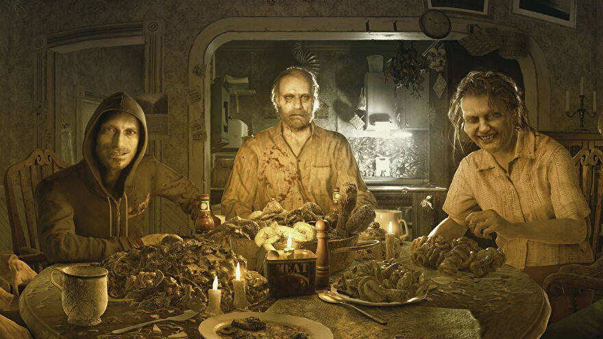 Artwork of the Baker Family from Resident Evil 7, showing a zombie family sitting round a dining room table with plates of gore and mouldy food stuffs.
