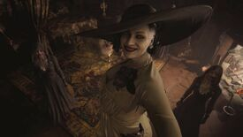 Resident Evil Village's Lady Dimitrescu looking up at the camera in an ornate bedroom