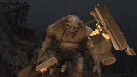Resident Evil 4 VR - The player's disembodied VR hands are in the middle of reloading a gun as the El Gigante  boss approaches.