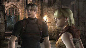 Leon and Ashley in a Resident Evil 4 screenshot.