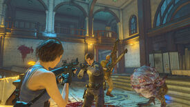 Jill, Leon, Jack, and a horrible fleshlump in a Resident Evil Re:Verse screenshot.