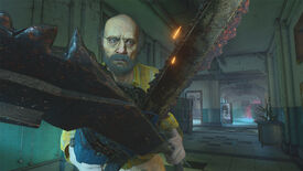 Jack Baker wields chainsaw scissors in a Resident Evil Re:Verse screenshot.