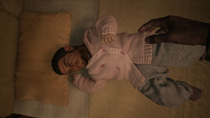Resident Evil Village mod - A baby laying in a crib wearing a pink sweater has the face of adult Chris Redfield.