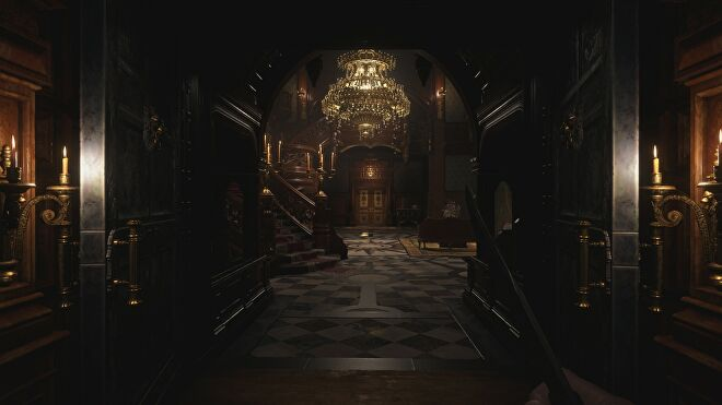 The grand staircase in Castle Dimitrescu in Resident Evil Village with ray tracing switched off