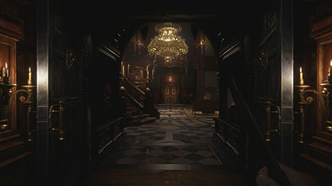 The grand staircase in Castle Dimitrescu in Resident Evil Village with ray tracing switched on