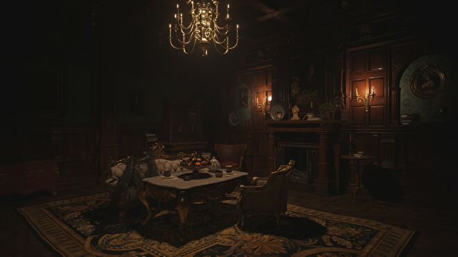An ornate sitting room in Castle Dimitrescu in Resident Evil Village with ray tracing switched off