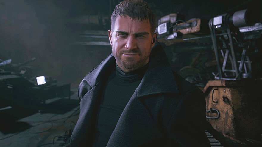 Chris Redfield from Resident Evil Village standing in front of a big machine, smiling at protagonist Ethan Winters