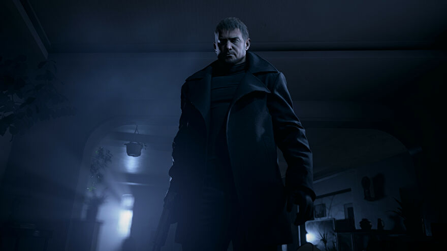 Resident Evil Village - Chris Redfield wears a trenchcoat and looks down at the player.