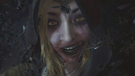 A close-up of one of Lady Dimitrescu's daughters from Resident Evil Village, with bugs flying all around her